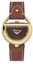 Salvatore Ferragamo Gold-Tone Half Moon Watch