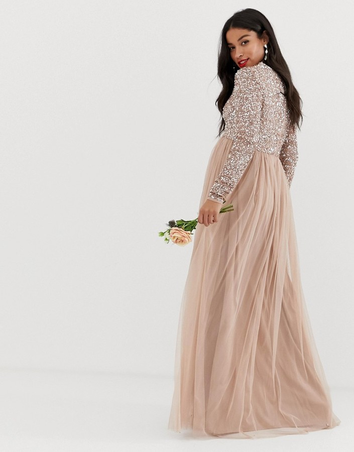 Thumbnail for your product : Maya Maternity Bridesmaid long sleeved maxi dress with delicate sequin and tulle skirt in taupe blush