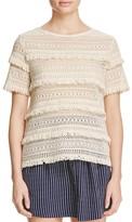 Joie Rafel Fringed Open Knit Sweater