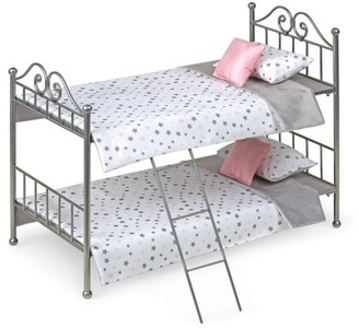 "Badger Basket Scrollwork Metal Doll Bunk Bed with Ladder and Bedding - Silver/Pink/Stars - Fits American Girl, My Life As & Most 18"" Dolls"