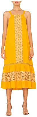 Miss Me Floral Lace Woven Dress (Mustard Yellow) Women's Clothing
