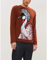 Valentino Peacock-intarsia wool and cashmere-blend jumper