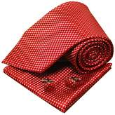 Y&G Red checkers mens neck ties gift ideas man handmade silk neck tie cufflinks handkerchiefs set Red