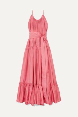 Kalita Genevieve Gathered Tiered Silk-habotai Maxi Dress - Pastel pink