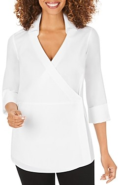 Foxcroft Solista Wrap-Front Tunic Top
