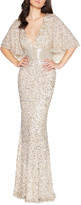 Mac Duggal 6-Week Shipping Lead Time Sequin Plunge-Neck Flutter-Sleeve Column Gown