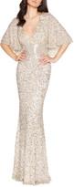Mac Duggal Sequin Plunge-Neck Flutter-Sleeve Column Gown