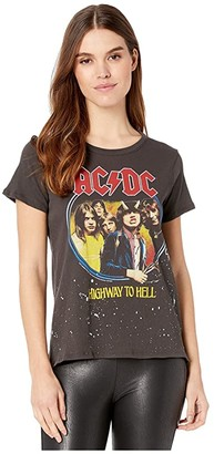 Chaser AC/DC Highway To Hell Gauzy Cotton Crew Neck Tee (Vintage Black) Women's Clothing