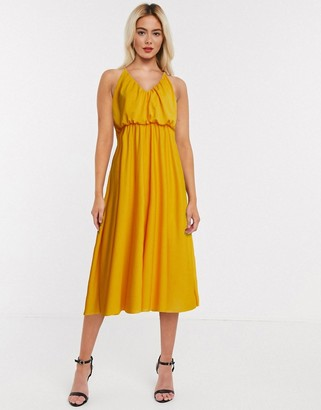 ASOS DESIGN cami plunge midi dress with blouson top in mustard