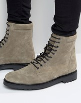 Asos Military Boots in Gray Suede and Black Sole
