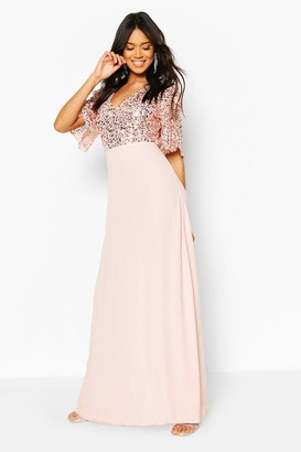 boohoo Bridesmaid Occasion Sequin Bodice Angel Maxi Dress