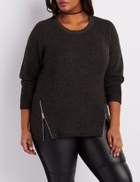 Charlotte Russe Plus Size Shaker Stitch Zipper-Trim Sweater