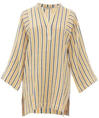 Three Graces London Belinda Striped Cotton-blend Seersucker Kaftan - Womens - Yellow Multi