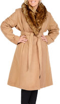 Excelled Leather Excelled Faux-Wool Long Coat with Faux-Fur Trim - Plus