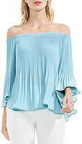Vince Camuto Pleated Off-The-Shoulder Bell Sleeve Blouse