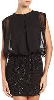 Romeo & Juliet Couture Beaded Skirt Blouson Dress, Black