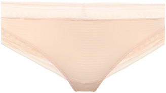 Eres Super Leavers Lace-trimmed Stretch-cloque Mid-rise Thong