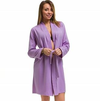 Bbbridal Ladies Soft Cotton Lightweight Robe Kimono Dressing Gown Spa Summer Bridal Bridesmaid Plus Size 8-26 (Lilac UK 8/10)