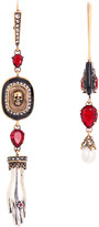 Alexander McQueen Mismatched skull and crystal earrings
