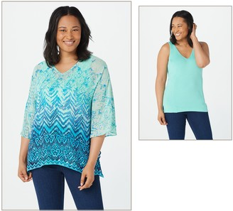 Belle By Kim Gravel Printed Poncho and Knit Tank Set