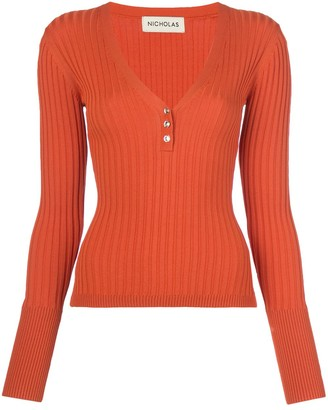 Nicholas Ribbed Jersey Long-Sleeve Top