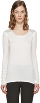 Rag & Bone White Silk Gunner Long Sleeve T-shirt
