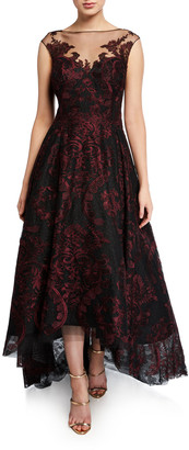 Rickie Freeman For Teri Jon Cap-Sleeve High-Low Embroidered Tulle Illusion Dress