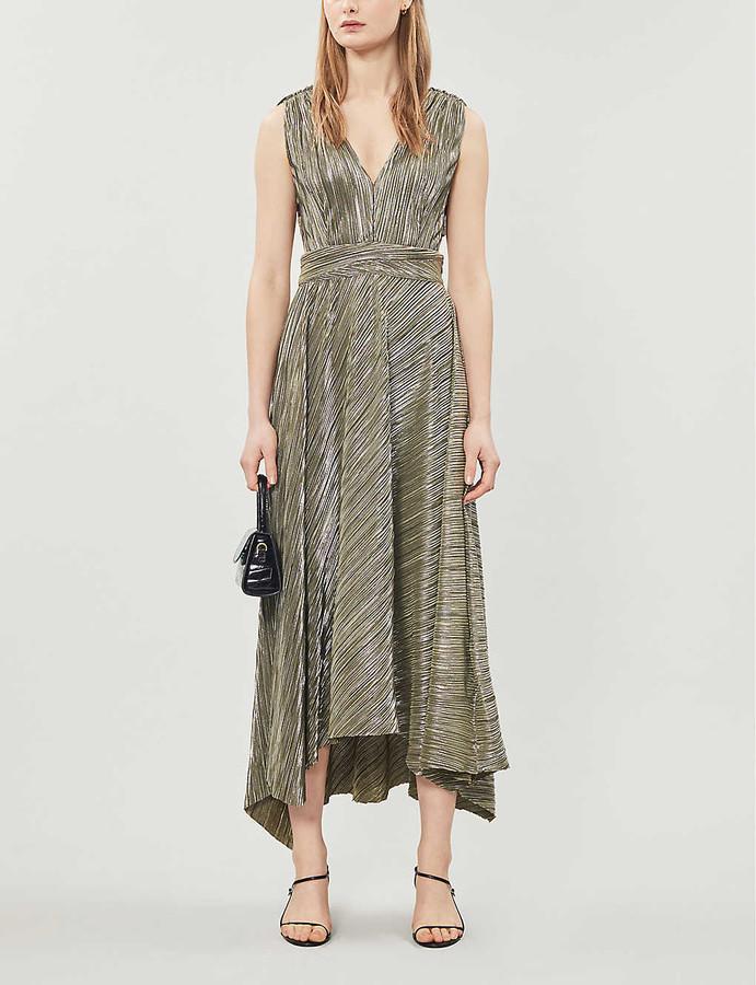 Maje Royal pleated stretch-woven midi dress