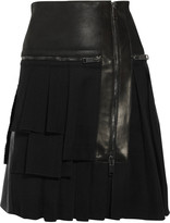 Pringle Leather and wool pleated kilt