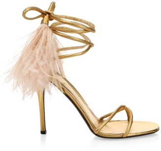 Valentino Upflair Feather-Trimmed Metallic Leather Sandals