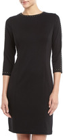 Neiman Marcus 3/4-Sleeve Stud-Trim Dress, Black