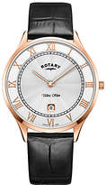 Rotary Gs08304/01 Ultra Slim Date Leather Strap Watch, Black/white
