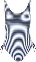 Topshop Navy Blue Striped Side Ruched Swimsuit