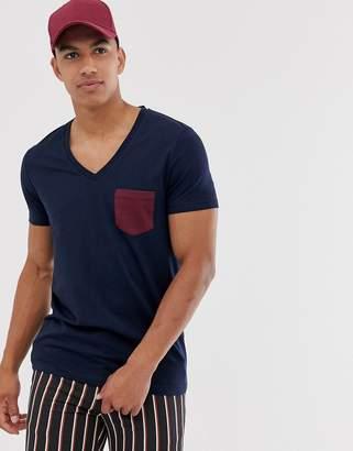Asos Design DESIGN t-shirt with deep v neck and contrast pocket in navy