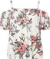 Dorothy Perkins Ivory Floral Cold Shoulder Top