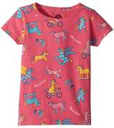 Life is Good Happy Horse Print Crusher Tee Girl's T Shirt