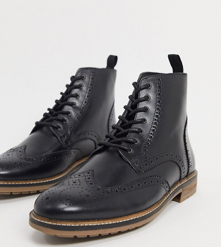 New Mens Silver Street Black Milton Leather Shoes Brogue Lace Up