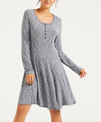 Simple By Suzanne Betro Simple by Suzanne Betro Women's Casual Dresses 101NAVY - Navy Marled Henley T-Shirt Dress - Women & Plus