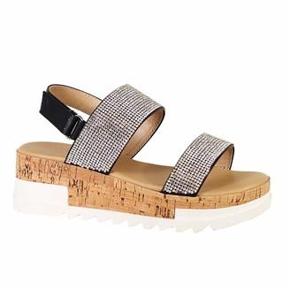 Yoki Women's Platform Sandal with Rhinestone Embellishment