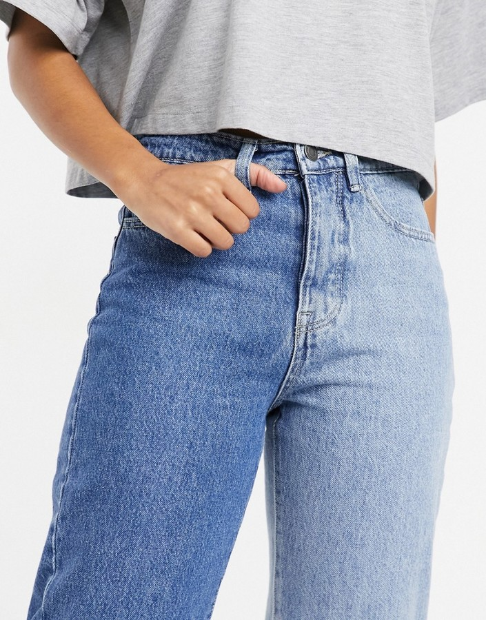 Thumbnail for your product : Stradivarius straight leg contrast two tone jeans in blue