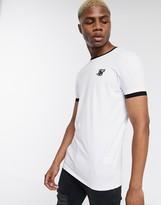 SikSilk ringer t-shirt in white with logo