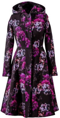 Rainsisters Fit And Flare Black Waterproof Coat With Hydrangea Pattern: Hortense
