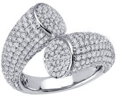 Lafonn Platinum Over Sterling Silver Micro Pave Simulated Diamond Crossing Pave Ring