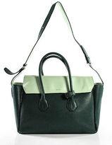 Bally Green Leather Medium Colorblock Sommet Satchel Handbag