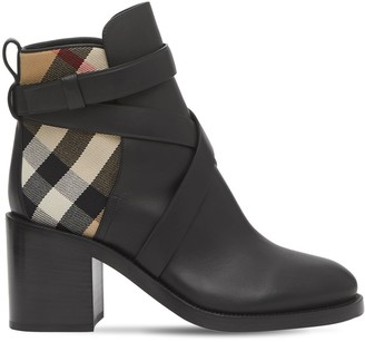 Burberry 70MM PRYLE LEATHER & CHECK ANKLE BOOTS