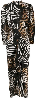 Rixo Animal-Print Open-Back Dress