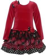 Bonnie Jean Little Girls Velour Floral Accent Tie Christmas Dress