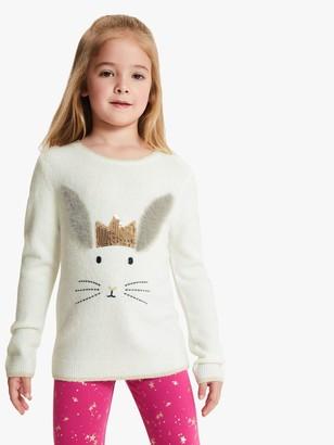 John Lewis & Partners Girls' Bunny Face Jumper, Gardenia