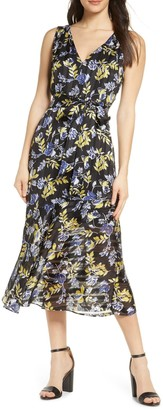 Sam Edelman Floral V-Neck Midi Dress