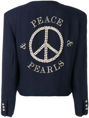 Moschino Pre Owned Peace Embroidered Jacket